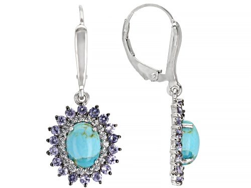 Photo of 8x6mm Oval Kingman Turquoise With  1.00ctw Tanzanite & 0.45ctw White Zircon Silver Dangle Earrings