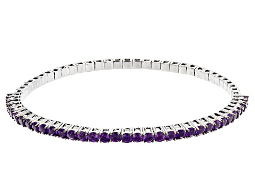Photo of 3.40ctw Round African Amethyst Rhodium Over Sterling Silver Tennis Stretch Bracelet