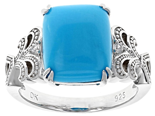 Photo of 12x10mm Rectangular Cushion Sleeping Beauty Turquoise, .05ctw Zircon Rhodium Over Silver Ring - Size 8