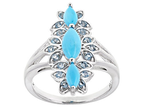Photo of Marquise Sleeping Beauty Turquoise With .30ctw Swiss Blue Topaz Rhodium Over Silver 3-Stone Ring - Size 7