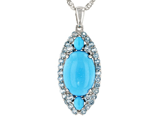 Photo of Oval Sleeping Beauty Turquoise, .91ctw Round Swiss Blue Topaz Rhodium Over Silver Pendant With Chain