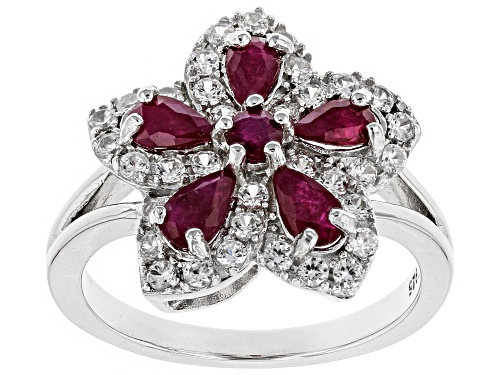 Photo of 1.18ctw Pear Shape & Round Burmese Ruby With .65ctw White Zircon Rhodium Over Silver Flower Ring - Size 9