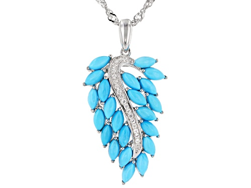 Photo of Marquise Sleeping Beauty Turquoise & .12ctw White Zircon Rhodium Over Silver Leaf Pendant W/Chain