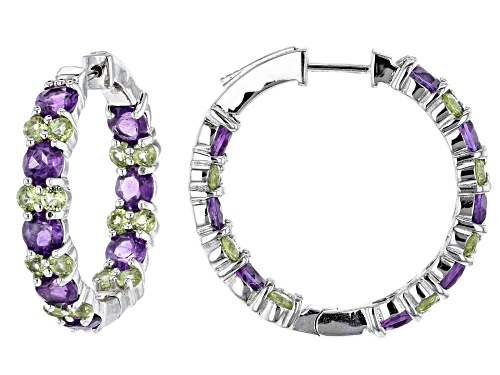 Photo of 8.84ctw African Amethyst and Manchurian Peridot™ Rhodium Over Silver Inside/Outside Hoop Earrings