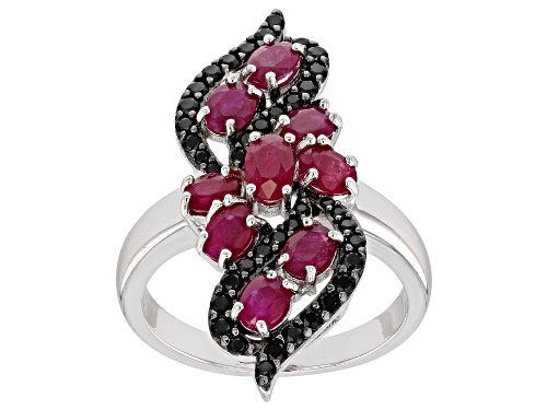 Photo of 1.72CTW OVAL BURMESE RUBY WITH .41CTW BLACK SPINEL RHODIUM OVER STERLING SILVER RING - Size 6