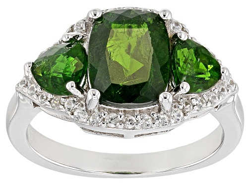 Photo of 2.86CTW RUSSIAN CHROME DIOPSIDE WITH .33CTW WHITE ZIRCON RHODIUM OVER SILVER 3-STONE RING - Size 9