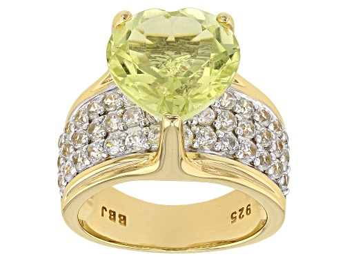 Photo of 4.34CT HEART SHAPE CANARY YELLOW QUARTZ WITH 2.11CTW WHITE ZIRCON 18K YELLOW GOLD OVER SILVER RING - Size 8