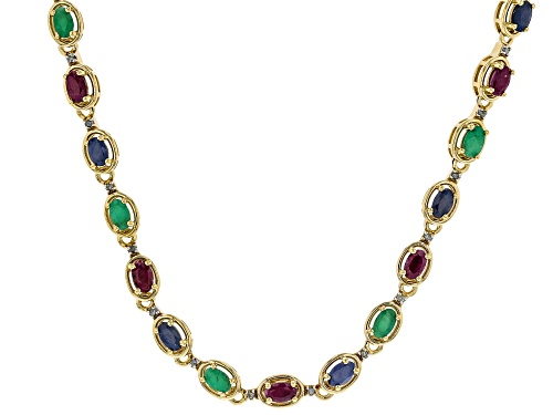 Photo of 6.88ctw emerald, ruby and blue sapphire with .10ctw diamond 18k gold over silver necklace. - Size 18