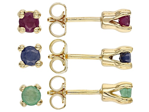 Photo of .45ctw Emerald, .68ctw Ruby & .63ctw Blue Sapphire 18k Gold Over Silver 3 Pairs Stud Earrings Set
