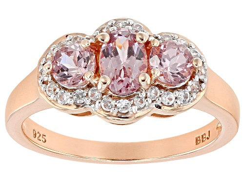 Photo of 1.13ctw Color Shift Garnet with .18ctw White Zircon 18k Rose Gold Over Sterling Silver Ring - Size 9