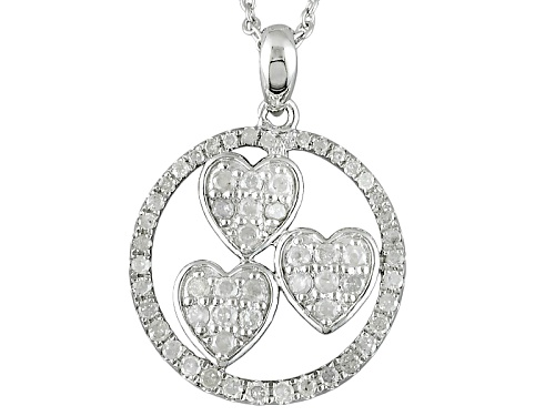 "Photo of .59ctw Round White Diamond Rhodium Over Sterling Silver Heart Pendant With 18"" Cable Chain"
