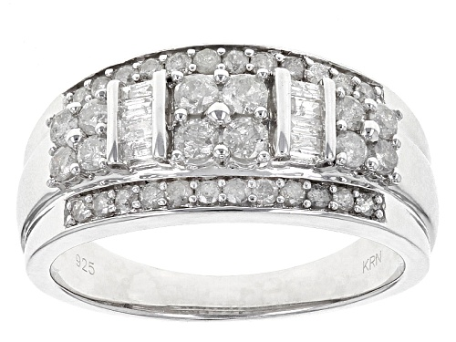 Photo of .74ctw Round And Baguette White Diamond Rhodium Over Sterling Silver Band Ring - Size 6