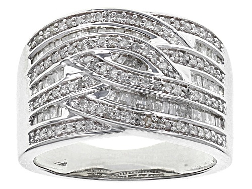 Photo of .63ctw Baguette And Round White Diamond Rhodium Over Sterling Silver Band Ring - Size 5