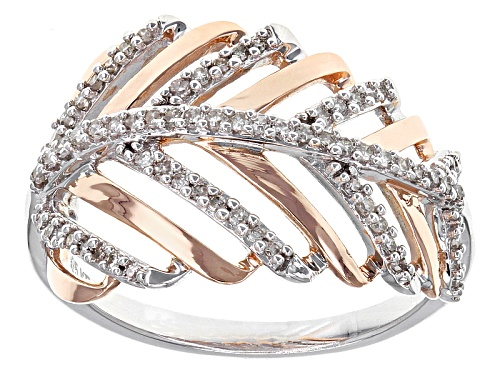 Photo of .25ctw Round White Diamond Rhodium And 14k Rose Gold Over Sterling Silver Leaf Ring - Size 6