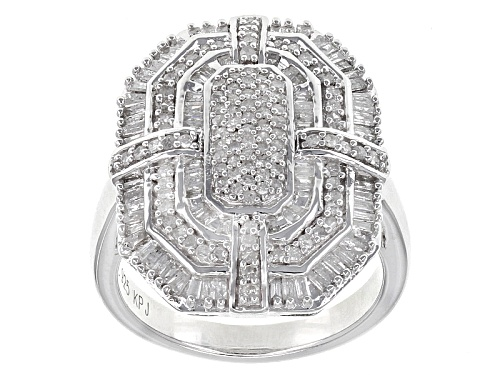 Photo of .75ctw Baguette And Round White Diamond Rhodium Over Sterling Silver Cluster Ring - Size 7