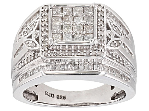 Photo of 1.10ctw Princess Cut Baguette And Round White Diamond Rhodium Over Sterling Silver Quad Ring - Size 6
