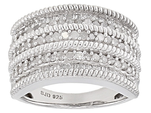 Photo of .95ctw Round And Baguette White Diamond Rhodium Over Sterling Silver Band Ring - Size 5