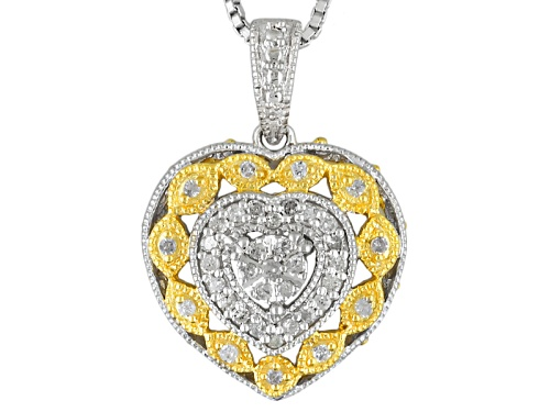 Photo of .20ctw Round White Diamond Rhodium & 14k Yellow Gold Over Sterling Silver Pendant With 18inch Chain