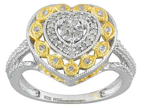 Photo of .20ctw Round White Diamond Rhodium And 14k Yellow Gold Over Sterling Silver Ring - Size 12
