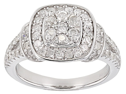 Photo of .97ctw Round White Diamond Rhodium Over Sterling Silver Ring - Size 10