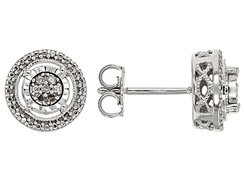 Photo of White Diamond Accent Rhodium Over Sterling Silver Earrings