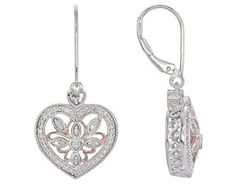 Photo of .33ctw Round White Diamond Rhodium And 14k Rose Gold Over Sterling Silver Earrings