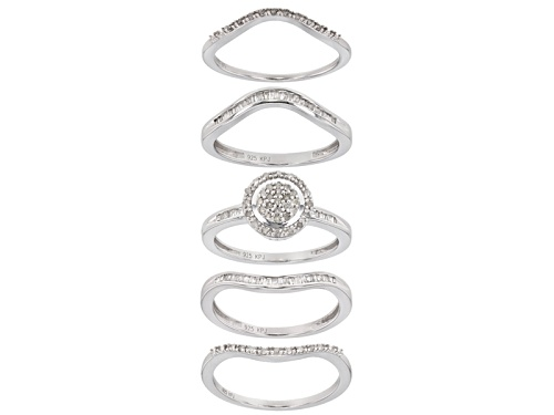 0.53ctw Round And Baguette White Diamond Rhodium Over Sterling Silver Set Of 5 Stackable Rings - Size 8