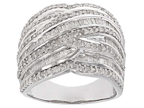Photo of 1.50ctw Round And Baguette White Diamond Rhodium Over Sterling Silver Ring - Size 8