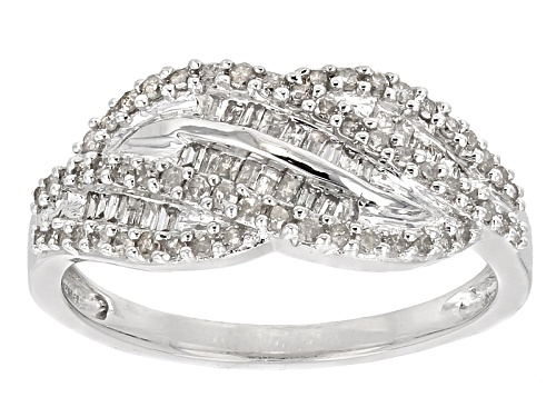 .50ctw Round And Baguette White Diamond Rhodium Over Sterling Silver Ring - Size 6