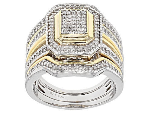 Photo of .45ctw Round White Diamond Rhodium & 14k Yellow Gold Over Sterling Silver Ring With 2 Matching Bands - Size 5