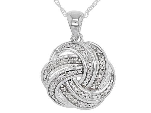 Photo of .10ctw Round White Diamond Rhodium Over Sterling Silver Pendant With An 18 Inch Rope Chain