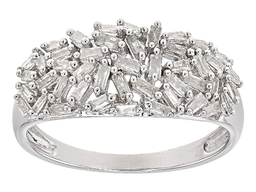 Photo of .56ctw Baguette White Diamond Rhodium Over Sterling Silver Ring - Size 5