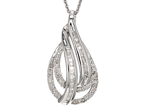 Photo of .50ctw Round And Baguette White Diamond Rhodium Over Sterling Silver Pendant With 18inch Chain