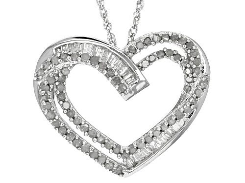 Photo of .56ctw Round And Baugette White Diamond Rhodium Over Sterling Silver Pendant With An 18inch Chain