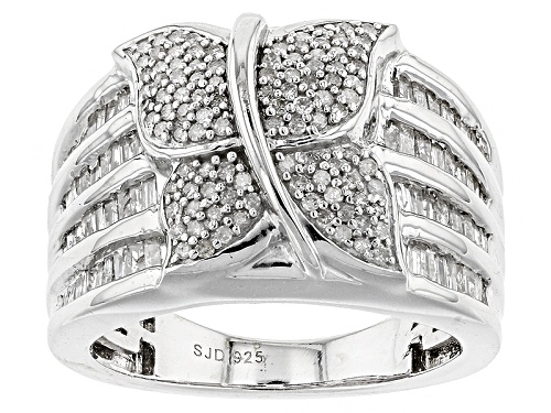Photo of 1.00ctw Round And Baguette White Diamond Rhodium Over Sterling Silver Ring - Size 6