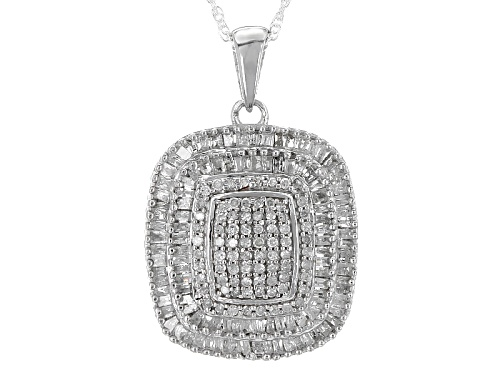 Photo of .85ctw Round And Baguette White Diamond Rhodium Over Sterling Silver Pendant With An 18inch Chain