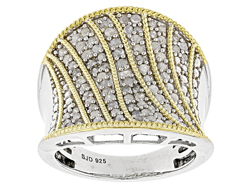Photo of .95ctw Round White Diamond 14k Yellow Gold And Rhodium Over Sterling Silver Ring - Size 7