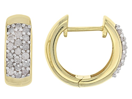 Photo of Engild™ .45ctw Round White Diamond 14k Yellow Gold Over Stering Silver Hoop Earrings