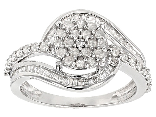 Photo of .75ctw Round And Baguette White Diamond Rhodium Over Sterling Silver Ring - Size 7