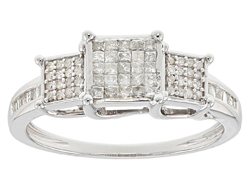 Photo of .38ctw Round, Baguette And Princess Cut White Diamond Rhodium Over Sterling Silver Ring - Size 8