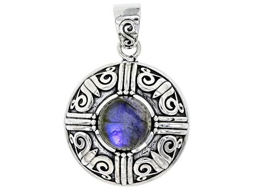 Photo of Artisan Collection of India™ 12mm Oval Cabochon Labrodorite Sterling Silver Pendant.