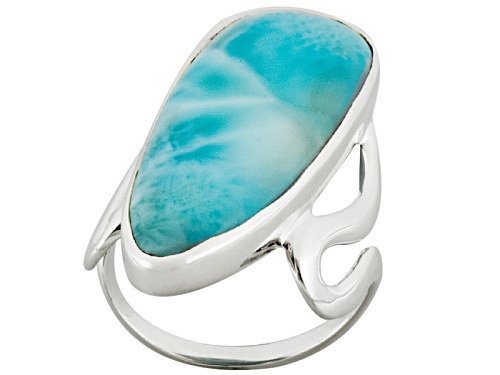 Artisan Gem Collection Of India, Fancy Shape Cabochon Larimar Sterling Silver Ring - Size 5
