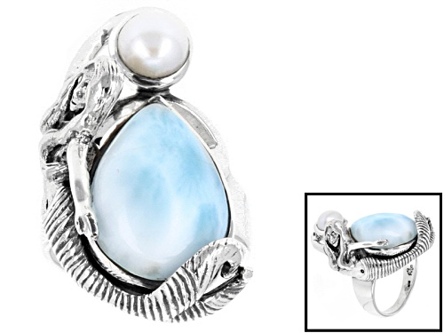 Photo of Artisan Gem Collection Of India,Pear Shape Larimar And Cultured Freshwater Pearl Silver Mermaid Ring - Size 6