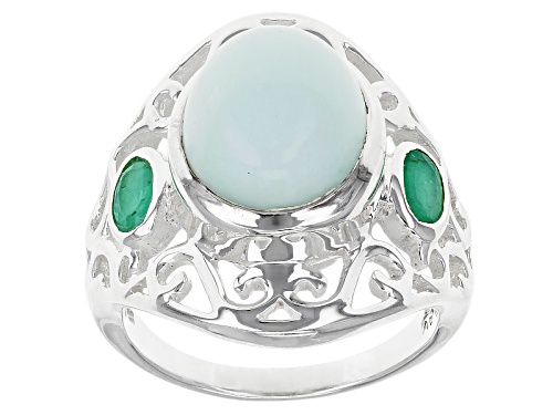 Photo of Artisan Gem Collection Of India, 5.13ct Oval Green Opal And .48ctw Oval Emerald Sterling Silver Ring - Size 5