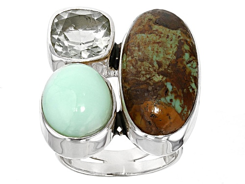 Photo of Artisan Collection Of India, Boulder Turquoise With  Prasiolite And Green Opal Silver Ring - Size 5