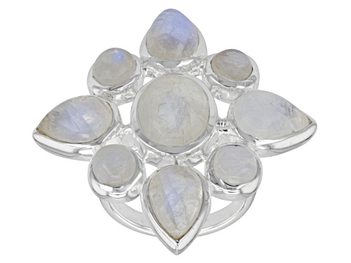 Photo of Artisan Collection Of India, Oval, Pear Shape, And Round Rainbow Moonstone Sterling Silver Ring - Size 7