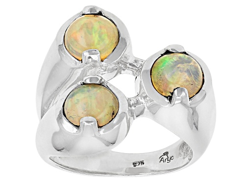Photo of Artisan Gem Collection Of India, 2.43ctw Round Cabochon Ethiopian Opal Sterling Silver 3-Stone Ring - Size 6