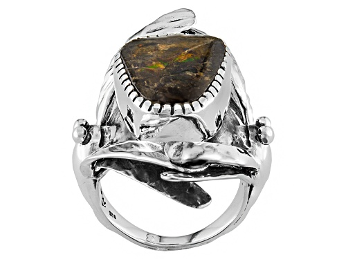 Photo of Artisan Gem Collection Of India, Fancy Shape Ammolite Doublet Sterling Silver Solitaire Ring - Size 5