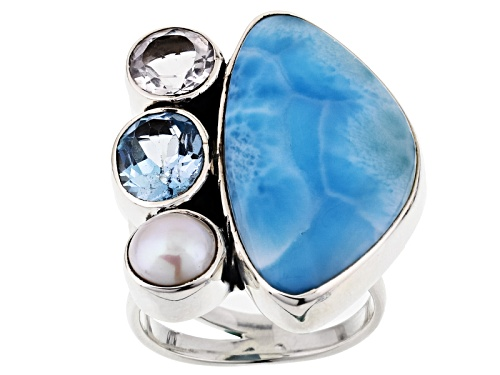 Photo of Artisan Collection Of India, Larimar, Cultured Freshwater Pearl And 2.84ctw Multi-Gem Silver Ring - Size 5