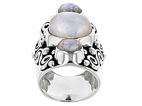 Photo of Artisan Gem Collection Of India, 12x10mm And 7x5mm Oval Rainbow Moonstone Silver 3-Stone Ring - Size 5
